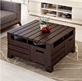 Furniture of America Crete Square Rustic Vintage Walnut Living Room Coffee or Tea Table with Storage