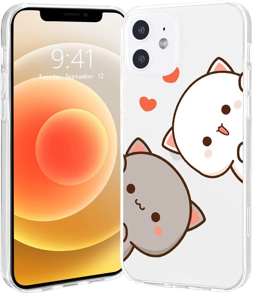 LuGeKe Cute Cats Print Phone Case for iPhone6/iPhone 6s,Cute Cats Pattern Case Cover,Soft TPU Cover Flexible Slim Anti-Stratch Bumper Protective Girls Women Phonecase(Love Heart Cats)