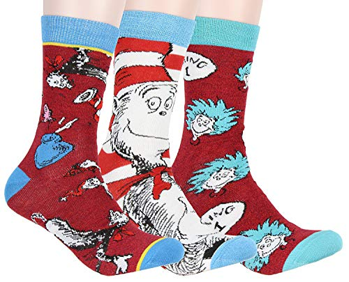 Dr. Seuss Socks Adult Cat In The Hat Thing 1 Thing 2 Character Design 3 Pack Mid-Calf Crew Socks