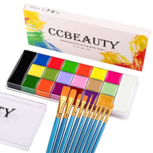 CCbeauty Professional Face Paint Kit 20 Colors(14 Normal and 6 Glow Color ) Halloween Neon Body Paint Oil Based SFX Cosplay Makeup Large Black White Face Painting Palette with 10 Blue Brushes