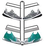 mDesign Schuhablage – modernes Wand Schuhregal für vier Paar Sneaker, Sportschuhe etc. – platzsparende Alternative zum Schuhschrank – grau