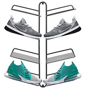 mDesign Modern Metal Shoe Organizer Display & Storage Shelf Rack - Hang & Store Your Collection of Kicks Running Basketball Trainers Tennis Shoes 4 Tier Holds 8 Shoes Wall Mount - Graphite Gray