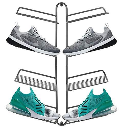 mDesign Organizador de zapatos – Moderno zapatero de pared para cuatro pares de zapatillas, calzado deportivo, etc. – Una alternativa al mueble zapatero que ahorra espacio – gris