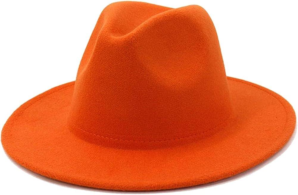 Classic British Fedora Hat Men Wome Orange Woolen Winter Felt Hats Jazz
