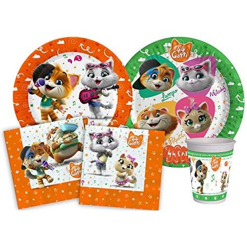 Ciao-Kit Party Tavola 44 Gatti per 24 persone, Multicolore, Y4961