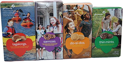 Girl Scout Cookies Thin Mints, Samoas (Carmel Delights), Tagalongs (Peanut Butter Patties) and Do-si-dos (Peanut Butter Sandwich) (Variety Pack of 4)