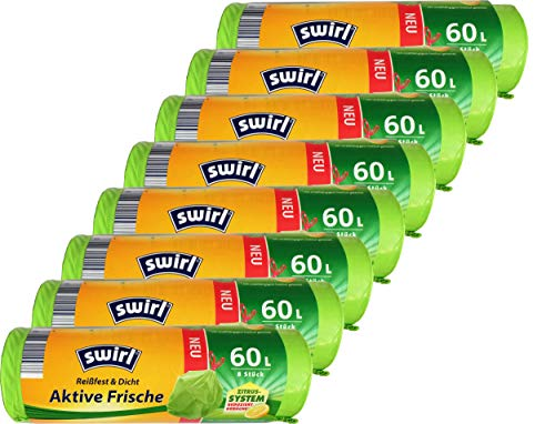 8x Swirl Aktive-Frische-Müllbeutel 60 l mit Zugband, grün (8 Rollen x 8 Beutel/Rolle = 64 Beutel)