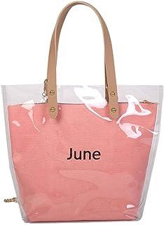 Wultia - Women's Fashion Wave Point Transparent Shoulder Bag Fruit Grain Crossbody Bag Lady Transparent Jelly Pack 6.66#M07 Pink