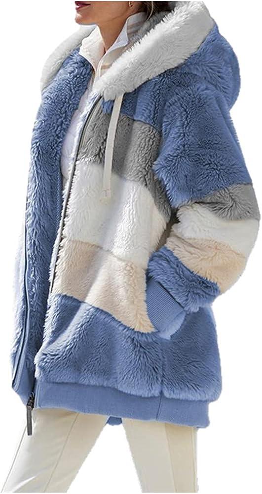 Winter Women Jacket Warm Plush Casual Loose Hooded Coat Mixed Color Patchwork Winter Outwear Faux Fur Zipper Ladies Parka Coat - blue,XXL