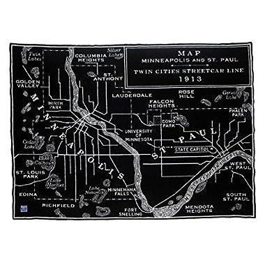 Faribault Woolen Mill City Map Throw-Twin Cities, Black/Smoke