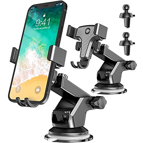 2 Pack Car Phone Holder Mount - (Upgraded Suction Cup) fotwen Universal Car Phone Holder for Dashboard Windshield Air Vent | Compatible with iPhone Android Cell Phone 4-7''