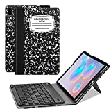 Fintie Keyboard Case for Samsung Galaxy Tab S6 10.5' 2019 (Model SM-T860/T865/T867), [Patented S Pen Slot Design] Folio Stand Cover with Removable Wireless Bluetooth Keyboard, Composition Book