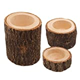 SUPVOX 3pcs Natural Wood Candle Holders Wooden Planter Flower Pot Rustic Wedding Party Home Decoration
