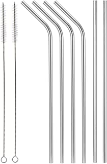 Aoocan set of 6 stainless steel metal straws extra long 10.5 inch, reusable drinking straws for 30oz/20oz tumblers, (2 Straight + 4 Bent + 2 cleaning brushes)
