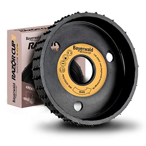 Bayerwald RazorCup – Disco rallador – Diámetro 90 mm x 22,2 mm | Lijado lateral rápido de madera y materiales de madera | para amoladora angular