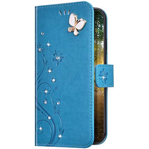 Uposao Kompatibel mit Samsung Galaxy A01 Hülle Glitzer Bling Strass Diamant Schmetterling Handyhülle Brieftasche Schutzhülle Leder Tasche Wallet Flip Case Cover Klapphülle Kartenfach,Blau