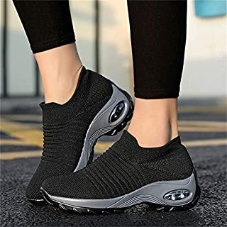 Women's Vulcanize Shoes - New Mesh Women Men Outdoor Running Shoes Couples Breathable Soft Athletics Jogging Sneaker (blac...