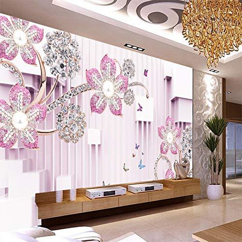 TV fondo pared TV papel tapiz 3d estéreo simple tela de pared joyas de diamantes cristal mariposa flor papel tapiz 3d mural papel tapiz Sala de esta Papel Pintado Fotográfico Fotomural-430cm×300cm