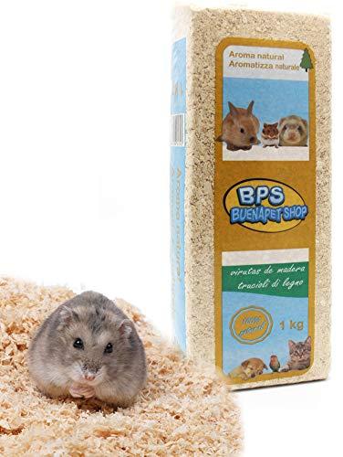 BPS Virutas de Madera Lecho Higienico para Mascotas Serrín para Gato Animales Pequeños Hámster Conejo Loro Ardilla Erizo Diferent Pack (1 Kg, Aroma Natural) BPS-4050