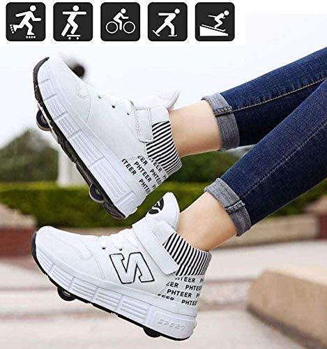 nnn Sportschoenen, skateboard, outdoor gymnastiek, gymschoenen, jongens, meisjes, vrijetijdsschoenen, met wieltjes, drukknop, instelbare skateboardschoenen voor kinderen, meisjes, jongens volwassenen
