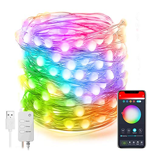 Smart WiFi LED Fairy Lights, Frontoppy 32.8ft 100LED String Lights Work with Alexa/Google Home, App & Remote Controlled, Music Sync Copper Wire Christmas Tree Lights for Bedroom,Party Decorations