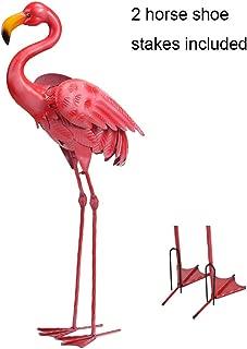 Lightingift Fabulous Tall Metal Pink Flamingo Garden Statues, Standing Flamingo Yard Decor,31