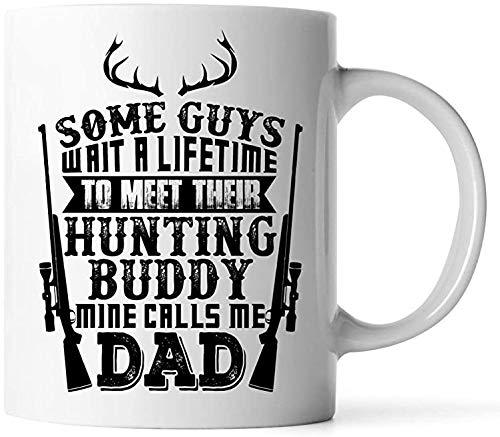 Preisvergleich Produktbild Two Tone White Coffee Mug Dad Gift from,  Or Son - Birthday Gift for Father Who Loves Hunting Buddy Coffee Mug White Great Gift Mug Funny Coffee Mug 15OZ