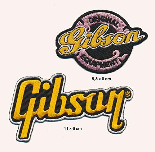 GIBSON Aufnäher Aufbügler Patch 2 Stück Gitarre Les Paul Flying V TURBOVERSAND