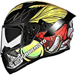 GPFFACAI Casco Integral Moto Mujer Cascos integrales de Moto, Cascos integrales con Gafas Dobles antivaho, Cascos de Scooter, Cascos de ciclomotor,(Size:2X-Large)