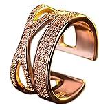 Drawihi 1PC Anillos Joyería Mujer Anillos Joyería Bisutería barata Anillos Mujer de Apertura Metal-Ajustable Apertura anillo de diamantes