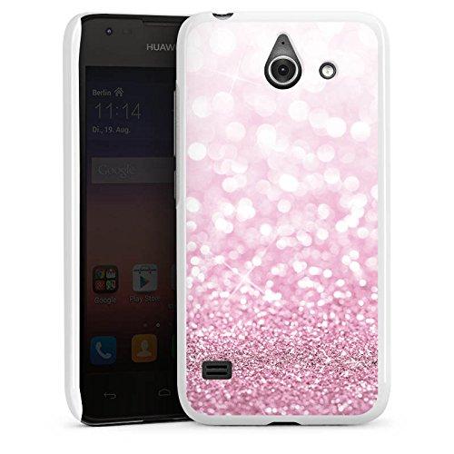 DeinDesign Hard Hülle kompatibel mit Huawei Ascend Y550 Schutzhülle weiß Smartphone Backcover pink Glitzer Erscheinungsbild Glanz