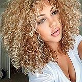 CPalsen Parrucca sintetica riccia con frangia, senza cappuccio, biondo biondo sintetico, parte laterale delle donne, con frangia, parrucca bionda di media lunghezza