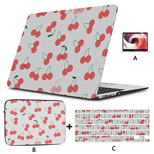 Macbook Air Cases Cool Red Sweet Fruit Cherry Flower Mac Case Hard Shell Mac Air 11'/13' Pro 13'/15'/16' With Notebook Sleeve Bag For Macbook 2008-2020 Version
