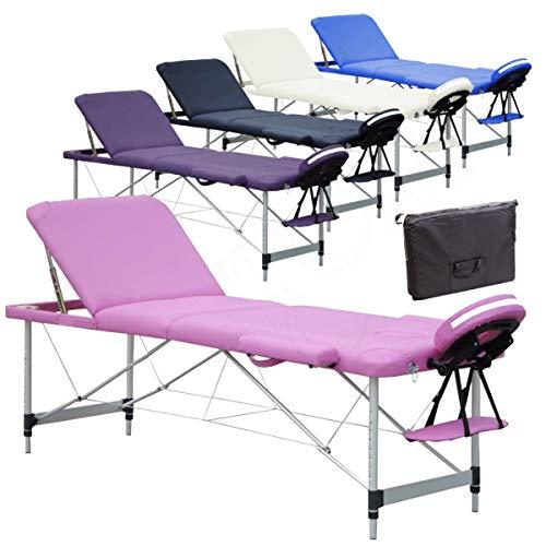 Beltom Mobile Massagetisch Massageliege Massagebank 3 zonen klappbar Aluminium + Tasche - Pink