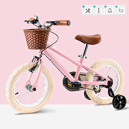 Vintage Bicicletas Niños, Niño De La Bicicleta con Ruedas De Entrenamiento De Los Niños, para Las Edades De 3-8 Años Niñas Y Niños (Pink, 16