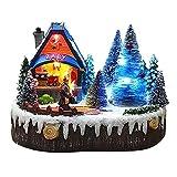 GDYJP decoración navideña Linda Navidad Luminosa Escena de Nieve Escena de Nieve Casa Casa Escena Up Piezas de Centro Adoración de Pueblo Luz Atractiva (Color : A)
