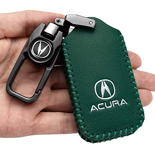 Car Key Case - Genuine Leather Protector Keychain For Acura CDX MDX NSX RDX RLX TLX TLX-L Smart Remote Key,key fob cover case key holder