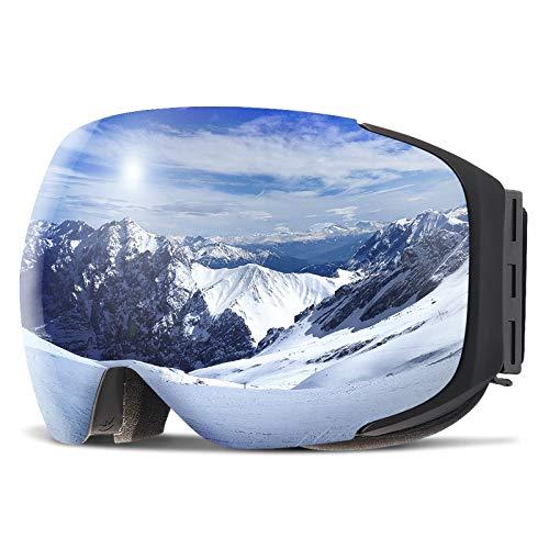 Copozz Ski-/Snowboardbrille für Damen/Herren und Jugendliche mit austauschbarem Glas mit Magnetbefestigung, auch über Sehbrillen und mit Helm zu tragen, G2 Black Frame/Revo Silver Lens(VLT 12{ca135ab2f82cfd130559b1de3caf24bb1826a17774b48b826343d18653e9c3b5})