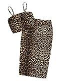 SheIn Women's Sleeveless Leopard Two Pieces Bodycon Skirt and Crop Cami Top Set Leopard Medium