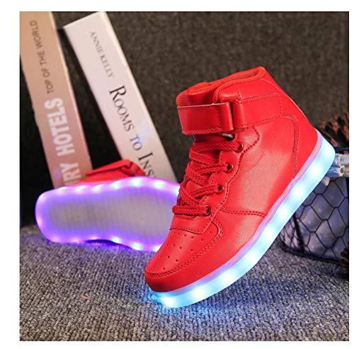 WAXFAS Sportschoenen Led Lamp Schoenen Goud High Help Meisjes En Jongens Mode Usb Opladen Rode Kinderen Casual Lichtgevende Sneakers
