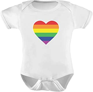 Love Pride Gay & Lesbian Rainbow Heart Flag Baby Bodysuit