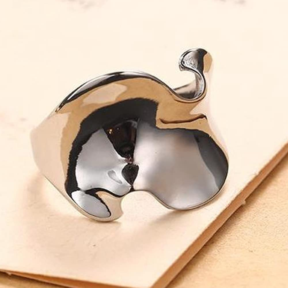 Stainless Steel Irregular Shape Ocean Waved Surface Promise Statement Anniversary Ring