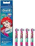 EB10-2K EB10-4K Lot de 4 têtes de brosses à dent électrique pour enfant, avec des motifs de princesse Disney/Cendrillon, compatible avec les brosses à dents électrique Braun Oral-B
