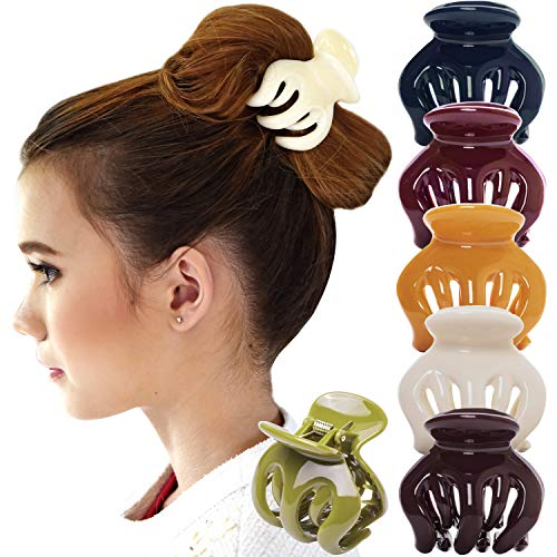 RC ROCHE ORNAMENT 6 Pcs Womens Hair Pumpkin Interlocking Teeth No Slip Secure Grip Strong Solid Ladies Beauty Accessory Classic Clamp Jaw Claw Clip, Large Classic Multicolor