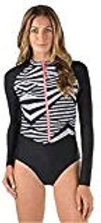 Long Sleeve One Piece Swimwear Swimsuit (Granatina, M)