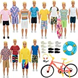 SOTOGO 41 Pieces Kens Clothes and Accessories for 12 Inch Boy Doll Include 12 Sets Doll Clothes/Casual Clothes/Jacket Pants Outfits, 6 Pairs Shoes and 5 Pieces Sport Doll Accessories