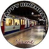 AK Giftshop Decoración para tarta de cumpleaños subterránea personalizada, redonda, 20 cm, cualquier edad y nombre