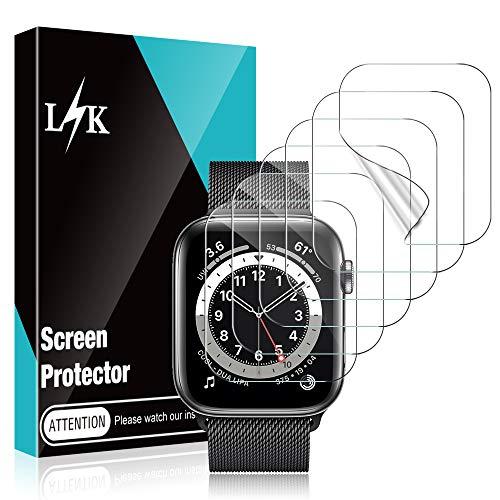 LϟK 6 Pack Protector de Pantalla para Apple Watch 44mm Series 6 5 4 SE y Apple Watch 42mm Series 3 2 1 - HD Película de TPU Flexible Sin Burbujas Funda Compatible Sin Bordes elevados Instalación Fácil