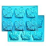 MKNzone 1 Stück 6-Loch 26 X 18.7 X 2 cm Silikon Backform Schokolade, Gelees & Süßigkeiten etc. - Elefanten, Zufällige Farbabgabe