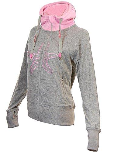 SEESTERN Damen Kapuzen Sweat Shirt Jacke Pullover Zip Hoody Sweater Gr.XS-XXL Grau XS